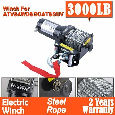 Electric Winch 3000LBS/1361KG 12V Steel Cable Wireless Remote ATV 4WD Boat KE