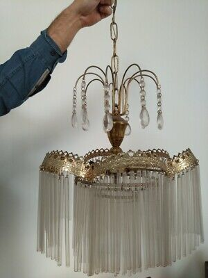 Old Italian Brass Lamp Sconce chandelier + cut & tubular Crystal glass from 50´s