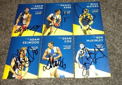 6x Signed West Coast Eagles club issue AFL cards *rare*