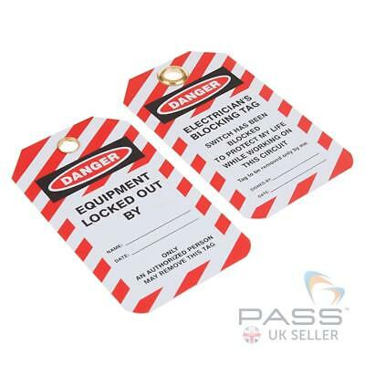 Lockout Tagout Tags - 'Electricians Blocking...' - Pack of 10