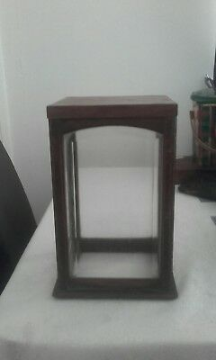 antique small glass and wooden case
