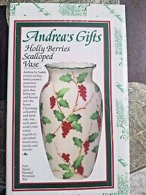 """Holly Berries Vase 8.5""""  - Holiday, Christmas . Hand Painted Fine Porcelain"""