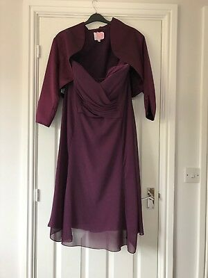 Mother of the bride/groom outfit size 22 dress bolero jacket plum/purple/red