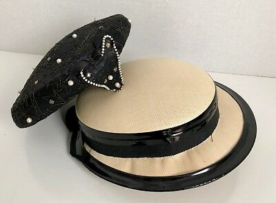 VTG Pearl Rhinestone Embroidered Black & Woven & Patent Leather Hat Lucy Derby 2