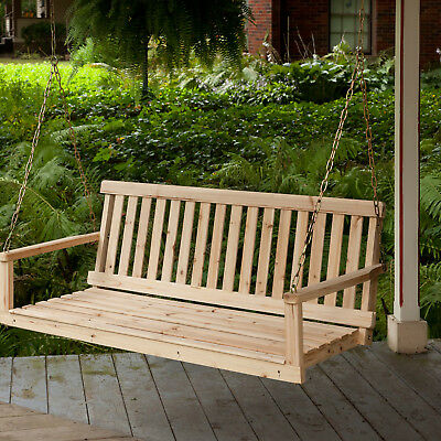 Wooden Porch Swing Outdoor Garden Bench Seat Canopy Loveseat Hammock Patio Chair