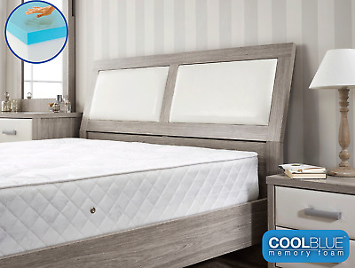 Cool Blue Memory Foam Topped Spring Mattress  3Ft 4Ft 4Ft6 Double 5Ft King Uk Q