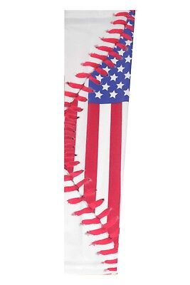 4de21ae80b American Flag Stars Stripes Baseball Stitches Lace Print Compression Arm  Sleeve