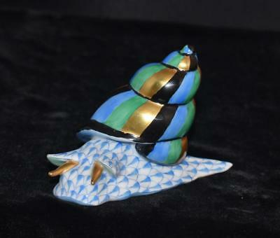Herend Figurine -SNAIL CRAWLING -# 15375 -Blue Fishnet  -Aquatic Collection-Mint