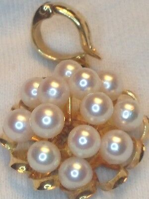 18k Solid Gold Pendant, Akoya Pearls, Flawless! 1.5 Inches, 4 Grams, Not Scrap
