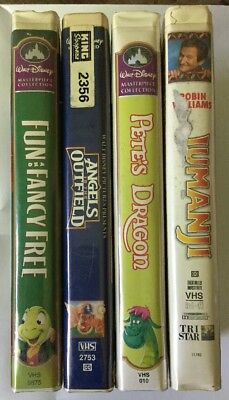 VHS Disney Lot Of 4 Jumanji, Pete's Dragon, Fun And Fancy Free,Angels In The...