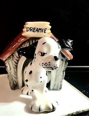 Dreamin Dog & Doghouse Anthropomorphic Salt and Pepper Shakers Vintage RARE 50s