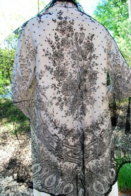 1860 Hand Done Chantilly Lace Large Shawl French W/ Lilly Of Valley Design