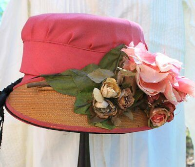 1910 Pink Silk And Straw Summer Hat With Ribbon Streamers And Roses