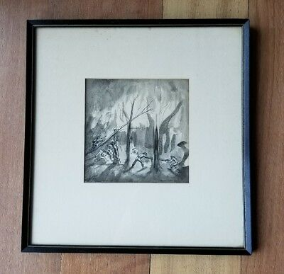 Original AARON SOPHER Ink Drawing Framed & signed Loggers Cutting down Trees '34