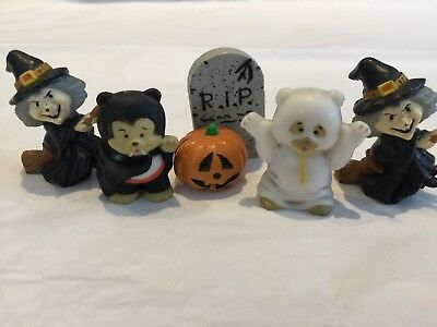 Hallmark Miniatures And Russ Lot Of 5 Halloween Bear Ghost Witch Dracula