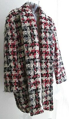 Vintage Black, White & Red Allover Wooly Plaid Coat For The Wild Woman In You