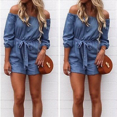 Plus Size Womens Off Shoulder Mini Playsuit Ladies Summer Shorts Jumpsuit 8-18