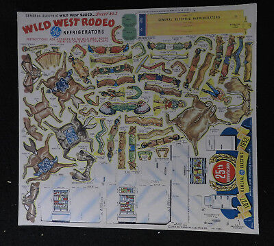 1952 General Electric Refrigerator Wild West Rodeo Punch Out Pieces