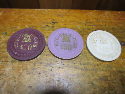 Vtg Nite Owl Club Clay Casino Chips Pittsburgh PA 3 Poker Varied Values