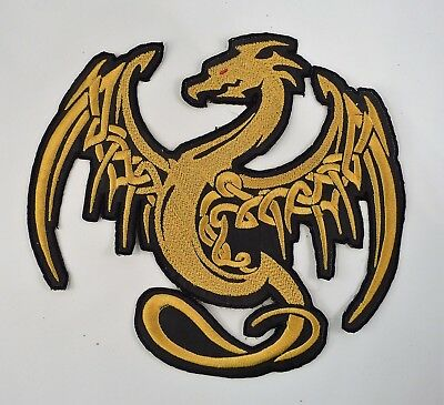 Embroidered Celtic Dragon Motif Jacket Patch / Motif 4 Sizes Many Colours