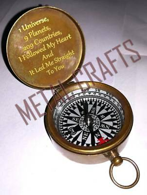 Personalized Antique Brass Compass Engraved Love Memorize Luxury Birthday Gift