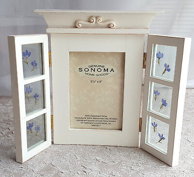 Sonoma Picture Photo Frame 3 1/2 x 5 Hinged Window Pane Shutters Flowers New Box
