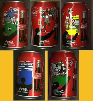 5 Coca Cola Dose Can 0,33l, leer, Deutschland 1996 Cans for Fans Nr.1+2+3 + 4+ 5