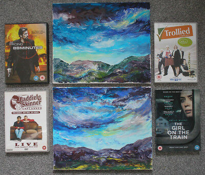 2 original acrylic landscape paintings plus 4 dvds inc...the girl on the train