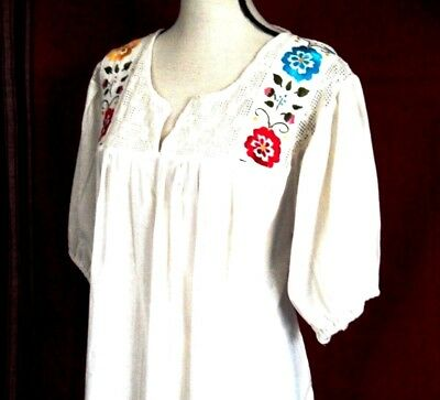Mexican White Blouse Cotton Floral Hand Embroidered Crochet Espanola 2XL