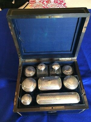 Antique Victorian Travel Vanity Wood Set Case w/  Glass Metal Storage Containers