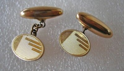 Vintage Art Deco Rolled Gold engine turned engraved cufflinks retractable chain