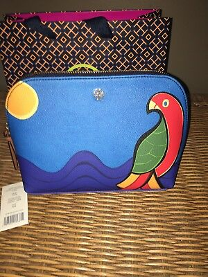 e77b5649d6d6 Tory Burch Kerrington Parrot Large Cosmetic Case Bag NEW