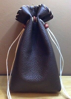 BOGO SALE~ New Handmade Dark Brown Leather Drawstring, Dice Bag, Coin Pouch