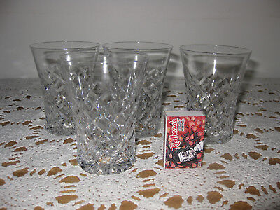 Vintage CUT GLASS CRYSTAL DRINKING GLASSES  x 4  C.1940's Tableware Bar alcohol