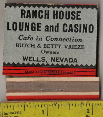 vintage book front strike matches Ranch House Lounge & Casino Wells, Nev.