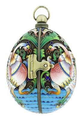 Russian Cloisonne large Enamel egg with surprize inside by Ivan Khlebnikov