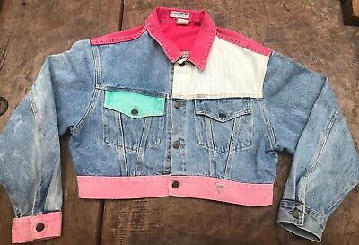 Vintage 1980s Guess  George Marciano Denim Color Block Cropped Jacket  Large
