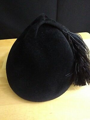 Marche Vintage Black Velvet Hat With Feather made in Italy