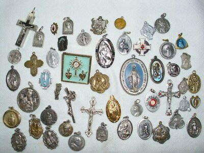 Estate LOT of 50 ANTIQUE VINTAGE CATHOLIC RELIGIOUS HOLY MEDALS Pins Crusifix