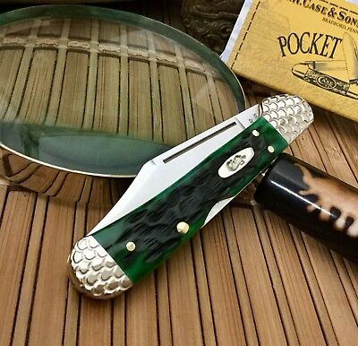 Case XX Beautiful Custom BERMUDA GREEN Bone Engraved Copperlock Pocket Knife