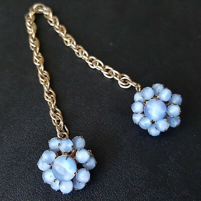 Vintage Sweater Guard Pin Blue Frosted Glass Flower Cluster Gold Tone Chain L57