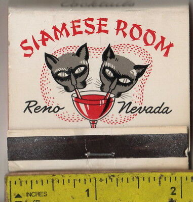 vintage book front strike matches the Siamese Room Cocktails Reno, Nev.
