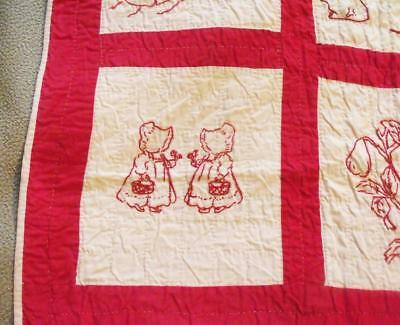 Vintage Turkey Red And White Embroidered Childl Quilt ~ 1900's