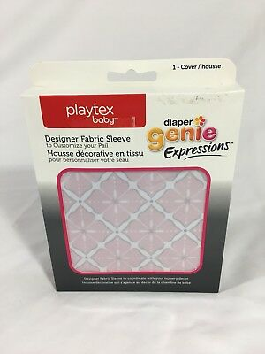 Playtex Diaper Genie Expressions Fabric Sleeve Cover Pink Starburst New! Free Sh