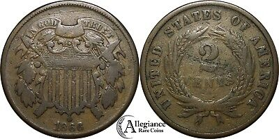 1866 2c Two Cent Bronze Piece NICE GRADE rare old type coin money
