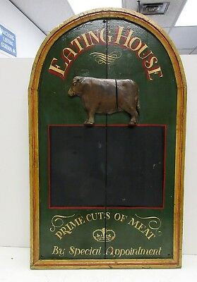 Eating House Vintage Pub House/ Butcher Sign W/ Chalk Face + Cow Relief