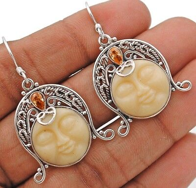 """Balinese Goddess Face Carved Bone 925 Sterling Silver Earrings Jewelry 1 3/4"""""""