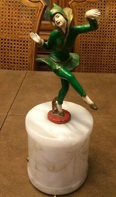 1930s Antique Art Deco GERDAGO Jester Harlequin Dancer Alabaster Table Lamp RARE