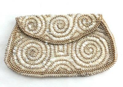 Vtg 50s 60s beaded clutch Purse satin lined GOLD holiday party Pinup Rockabilly