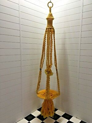 Vintage 1970s Very Large Mustard Yellow Macrame Hanger Two Tier Beaded Retro